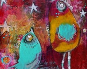 To The Moon and Back  2 Flirty Bird PRINT  by Jodi Ohl  3 size options