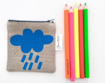 Screen Printed Rainy Day Cloud Purse Bag Pouch by Jane Foster  -  oatmeal linen - monochrome design - hand lined