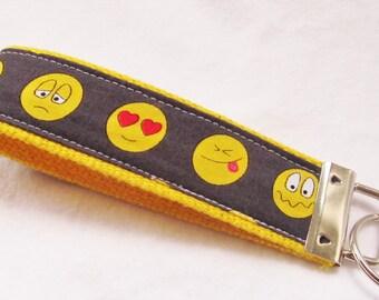 KeyFob Key Chain Wristlet - Emoji faces on Charcoal - Fabric Keychain