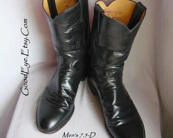 Vintage JUSTIN Roper Ankle Boots BIKER Black Leather Men Size 7.5 D Womens 9 .5 Eu 41 UK 7
