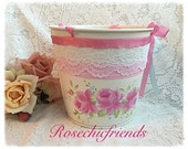 Pail/Bucket Shabby Hand Painted Pink Roses Chic ecs svfteam