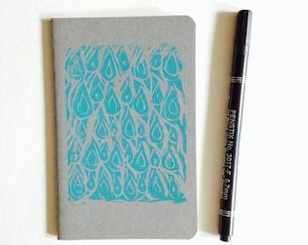 "linoprint, cahier, moleskine, graph 3.5"" x 5.5"" handprinted moleskine notebook, linoprint, blockprint"