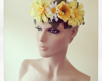 Flower Floral Head Dress Yellow Daisy Head Band Festival Rose Garland Coachella