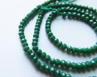 2mm Faceted Green Chalcedony Rondelle Beads - One Full Strand