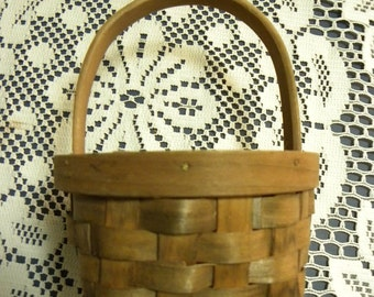 Wood Basket Small Woven Wood Basket 3 x 4 x 6 inches
