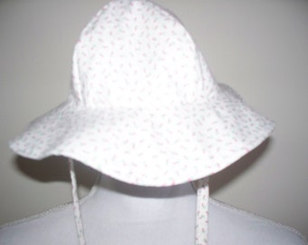 rosebud calico cotton girls brim sun hat with ties size newborn to a size 36  months