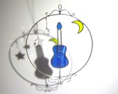 Playing Under The Stars - 3D Stained Glass Nature Spinner - Spinning Guitar Moon Wire Home Garden Decor Yard Art Suncatcher (READY TO SHIP)
