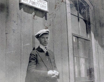 vintage photo 1920 Independence KAnsas Young Man Cap Suit Waiting for the Train