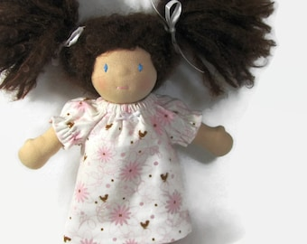 10, 12 inch chubby Waldorf doll nightgown in pink and brown birds and flowers print cotton flannel