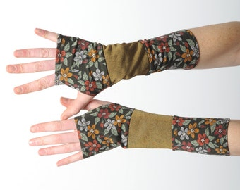 Green and bronze gloves, Floral jersey armwarmers, Patchwork fingerless gloves in floral khaki green and bronze jersey