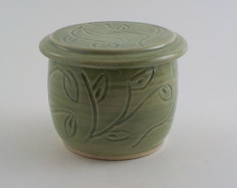 Ceramic Butter Keeper -  Handmade Cooks Tool -  Store and Serve -  Wheel Thrown Stoneware French Style Crock - Carved Celadon Green  s472