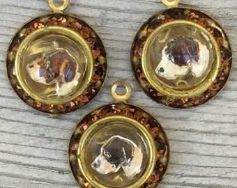 Dog charm. Vintage 3-D domed glass intaglio pendant in rhinestone setting. gold topaz. nos. DIY charm bracelet. Jewelry. Supplies m76