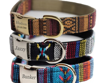 Personalized Aztec Dog Collar - Tribal Dog Color - Multi