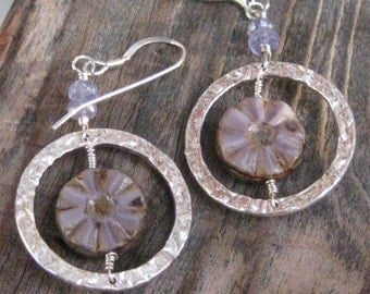 Tanzanite Czech Glass Wheel Earrings in Lavender with Hammered Circles