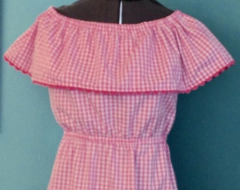 Hot pink Pima cotton gingham off shoulder beach dress