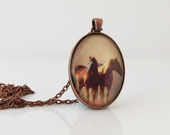 Brown Horse Pendant, Horse Necklace, Animal Necklace