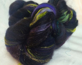 Black and Neon Baby Art Batts for Spinning- 3.8 ounces