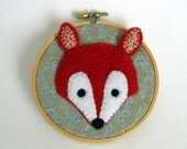 Red Fox art wall decoration, Hand Embroidery Hopp Art - 4.5 inch embroidery art, wall decor