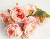 Silk Artificial Flowers - Set of 6 Small Cabbage Roses in Perfectly Pink Ivory - Silk Artificial Flowers - ITEM 0196