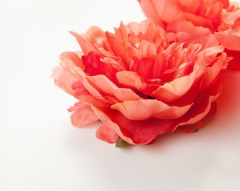 Bright Coral Peony -  4.5 Inches - Silk flower - Artificial Flower - ITEM 090