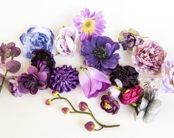 GRAB BAG no. 28 - OVER 20 Small to Medium Purple Shades Flowers - Silk Artificial Flowers