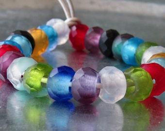Matte Mix 12mm Czech Glass Roller Bead : 8 pc Matte Large Hole Bead