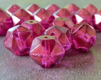 Orchid 13mm Czech Glass Bead English Cut Nugget : 6 pc Faceted Pink Czech Nugget Bead