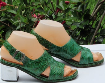 60s Sandals Charles Jourdan Leather Sandals  Green Sling Black Sandals Open Toe Sandals Sz 5 Made in Paris