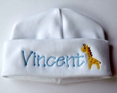 White Monogrammed Personalized Baby Hat with Giraffe
