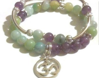 FREE GIFT with purchase Amethyst Amazonite Namaste Om Charm Bracelet Set