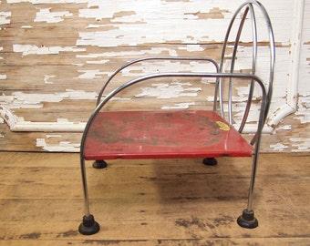 Fun Red Metal Jack N Jill Child's Chair Booster Seat Doll Chair