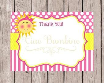 PRINTABLE You Are My Sunshine Thank You Cards / 5x7 Sunshine Thank You Cards in Pink and Yellow / You Print