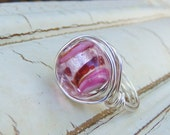 Pink Ring, Silver Ring, SWIRLY Pink, Red and Silver Handmade Lampwork Glass Ring, Wire Wrapped, Silver Jewelry, Size 7.5