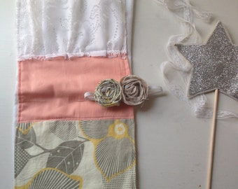 Coral + lace + gray burpcloth AND triple rosette headband. New Baby gift set