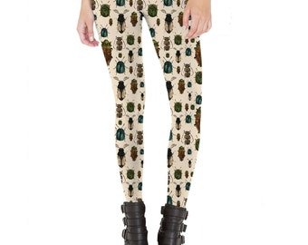Beetles Insect Pattern Leggings  Made in USA