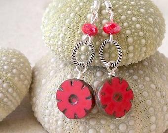 Beaded Dangle Earrings - Red Coral Earrings - Long Dangle Earrings - Drop Earrings - Beaded Jewelry - Handmade Earrings - Summer Earrings