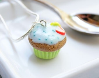Choco Key Lime Cupcake Necklace Handsculpted
