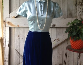 Fall sale 1960s dress mod dress 60s dress cocktail dress size x-small Vintage scooter dress blue velvet dress