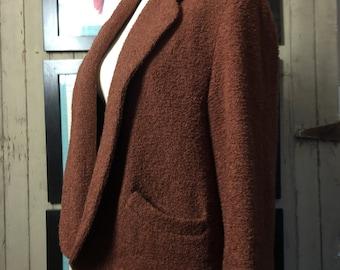 1940s brown jacket 40s boucle coat size medium large Vintage cropped wool jacket