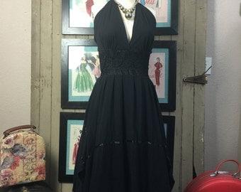 1970s gauze dress 70s halter dress size medium black Vintage sundress