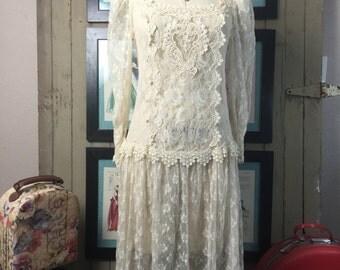 1980s dress sheer lace dress 80s dress size medium Vintage dress flapper dress 1920s style dress