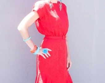 Sale 1980s dress red silk dress 80s does the 40s size medium Vintage mermaid hem dress button back