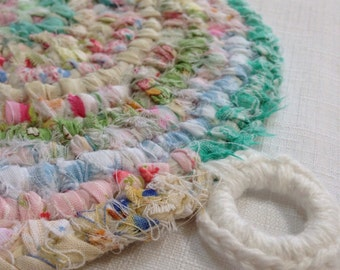Pastel Delights Rag Rug POTHOLDER / Trivet - Vintage Style Made From Quilting Scraps