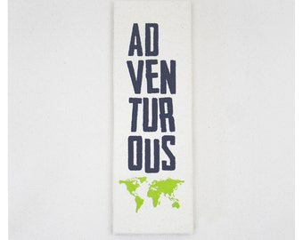 Adventurous Canvas Print 12x4 Inch Travel Screenprint Wall Art