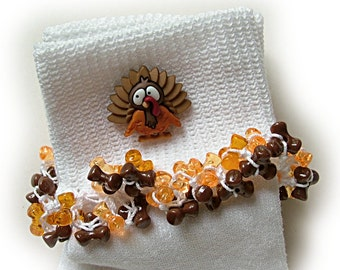 Kathy's Beaded Socks - Chocolate Turkey socks, Fall socks, holiday socks, orange socks, brown socks, tri bead socks, button socks