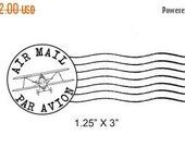 Xmas in July Airplane Post Mark Air Mail -  Par Avion Mail Art Rubber Stamp 295