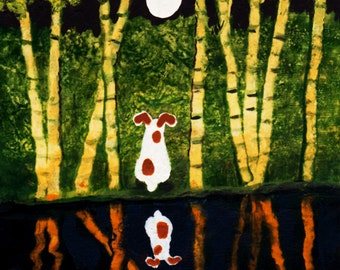 Jack Russell Terrier dog folk art PRINT of Todd Young painting BAMBOO REFLECTION