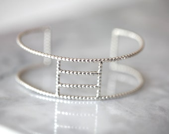 Square .silver beaded bracelet. Sterling  silver cuff
