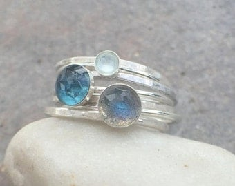 25% OFF - Sterling Silver Labradorite London Blue Topaz Milky Aquamarine Stacking Rings - US Size 7