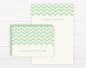 CHEVRON Personalized Stationery + Notepad Set - Personalized Notepad and Personalized Stationary
